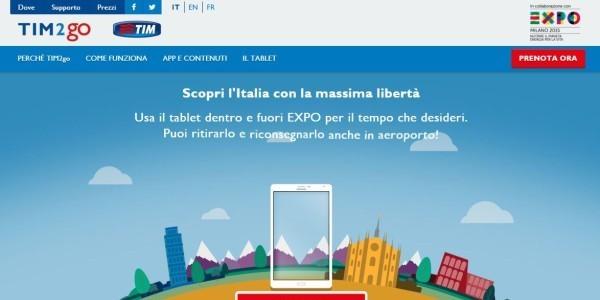 sito Web tim2go tablet Expo2015 Libre Società Cooperativa